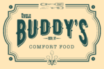 Text reads: Uncle Buddy's Comfort Food with a teal border with a spoon and knife along the top. Decorative flare along the bottom.