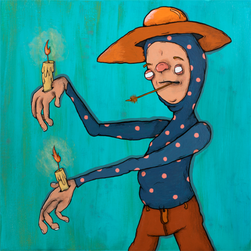acrylic painting on panel of man with candles burning in both of his hands