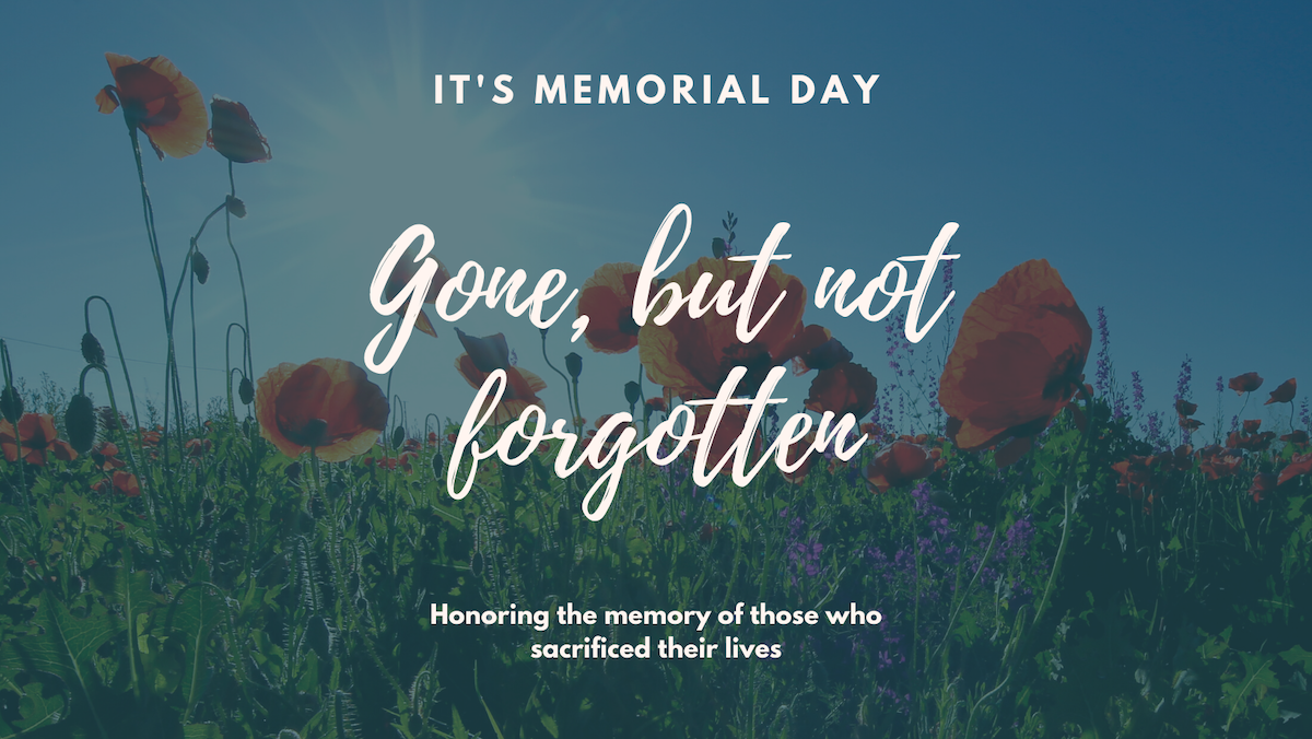 """A summer day in a field of red poppies in honor of Memorial Day. text reads, """"It's Memorial Day. Gone, but not forgotten. Honoring the memory of those who sacrificed their lives."""""""